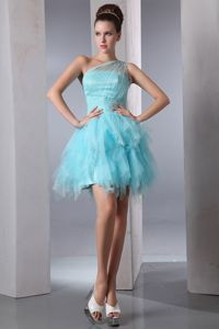 One Shoulder Short Cheap Grad Dresses in Aqua Blue with Beading