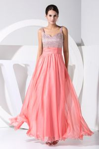 Silver and Watermelon Ruched Senior Graduation Dress with Straps