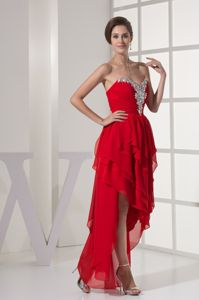 Asymmetrical Zipper-up Beaded Red Graduation Dress with Layers