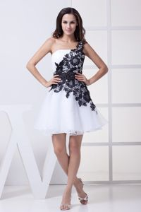 Single Shoulder Short Senior Grad Dresses with Black Lace Flowers