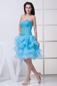 Sweetheart Beaded Aqua Blue Junior Graduation Dress with Ruffles
