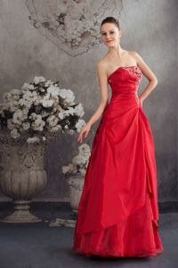 Strapless Red Long High School Graduation Dresses with Appliques