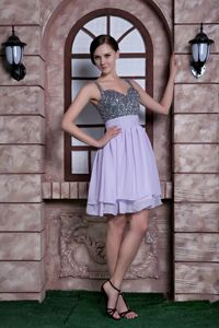 Lilac Knee-length Beaded Graduation Dresses with Spaghetti Straps