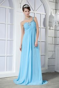 One Shoulder Light Blue Beaded Long Graduation Dresses For Girls