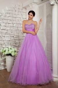 Lace-up Lavender Beaded Long Middle School Graduation Dresses