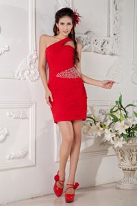 Red One Shoulder Beaded Short Middle School Graduation Dresses