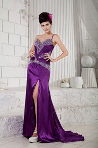 One Shoulder High Slit Purple Beaded Graduation Dresses For Girls