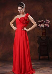 Flowers One Shoulder Red Ruched Long College Graduation Dress