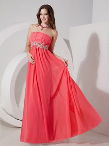 Strapless Watermelon Red Beaded Long Cheap Graduation Dresses