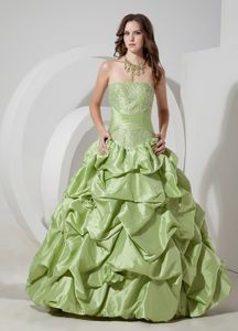 Appliqued Lace-up Yellow Green Graduation Dresses with Pick-ups