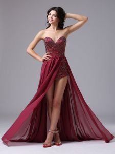 Sweetheart Burgundy High Slit Beaded Graduation Ceremony Dress