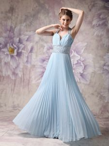Pleated Baby Blue Beaded Halter Long 5th Grade Graduation Dress