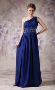 Elegant Navy Blue One Shoulder Brush College Graduation Dresses