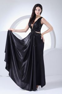 Gorgeous V-neck Black Ankle-length Graduation Dress with Cutout