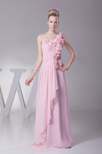 Flowers One Shoulder Pink Ruched Long Junior Graduation Dresses