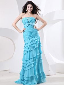 Strapless Aqua Blue Long Graduation Dresses with Ruffles and Bow
