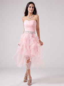Lace-up Asymmetrical Baby Pink Ruched Junior Graduation Dresses