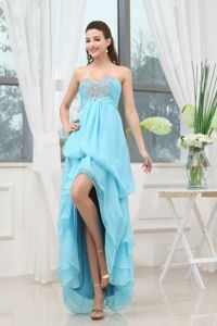 Sweetheart Aqua Blue High-low Beaded Graduation Dress For Girls