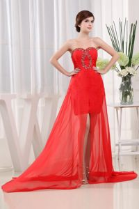 Sweetheart High-low Red Beaded Graduation Dresses For Grade 8