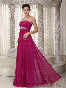Zipper-up Beaded Long High School Graduation Dresses in Fuchsia