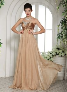 Champagne Floor-length Beaded Graduation Dress for High School