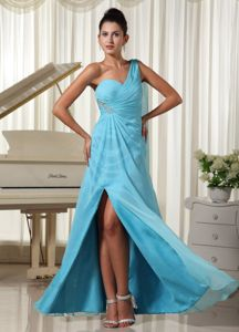 Aqua Blue High Slit One Shoulder Graduation Dress for Juniors New