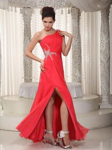 One Shoulder Bead College Graduation Dress with Slit on the Side