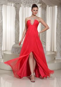 High Slit Chiffon Coral Red Evening Dress for Graduation Under 150