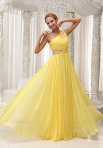 Yellow Ruche Beaded Graduation Dress for Girls with Side Zipper