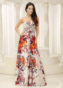 Floral Print Strapless Beading Graduation Dresses for High School