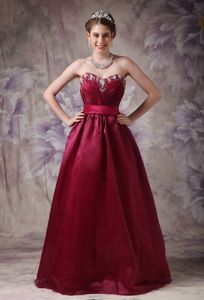 New Burgundy Sweetheart Graduation Dress with Beads Under 150