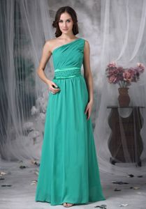 One Shoulder Graduation Dress for High School with Beaded Waist