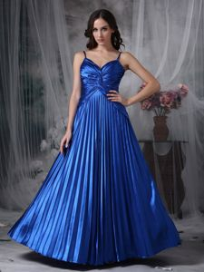 Blue Spaghetti Straps Graduation Dress for College with Pleat 2014