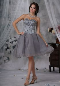Gray Organza Sweetheart 5th Grade Graduation Dresses with Beads