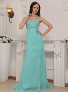 Best Turquoise One Shoulder Beaded Brush Train Graduation Dress