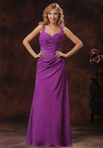 Fitted Floor-length Purple Straps Ruche 5th Grade Graduation Dress