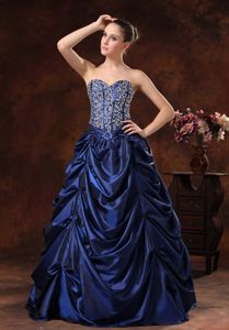 Puffy Navy Blue Pick-ups Beaded Graduation Dresses for Grade 8