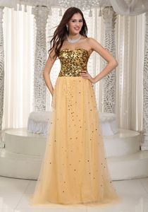 Sequined Tulle Gold Graduation Dresses for Middle School on Sale