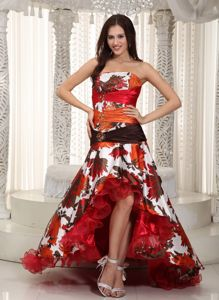 Floral Print High-low Graduation Dresses for 8th Grade with Beads