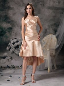 Cute Champagne Ruched Middle School Graduation Dress in Taffeta