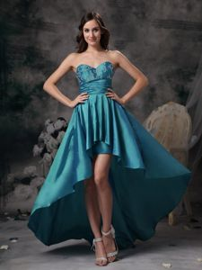 Most Popular Teal High-low Sweetheart Graduation Dresses for Girls