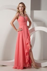 Watermelon High-low Ruched Graduation Dress for Girls with Beads