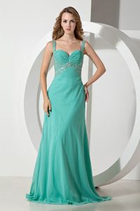 Turquoise Graduation Dress for High School with Beads and Ruche