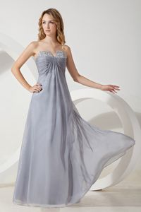Gray Strapless Beading Eighth Grade Graduation Dresses in Chiffon
