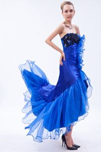 High-low Royal Blue Appliques Mermaid Strapless Graduation Dress