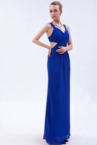 Royal Blue Backless Ruches Empire Straps 2013 Graduation Dress