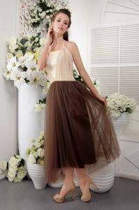 Halter Tea-length A-line Tulle Lace Graduation Dress in Brown