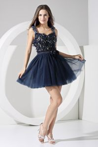 Flowers Cool Back Straps Navy Blue Mini-length Graduation Dress