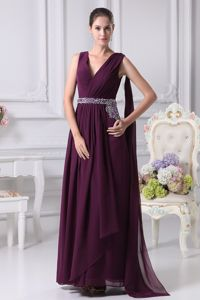 Purple V-neck Beaded Graduation Dress Watteau Train with Sash