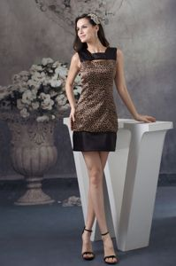 Leopard Print Graduation Dress in Brown and Black with Cutouts